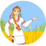 Young woman in ukrainian clothes