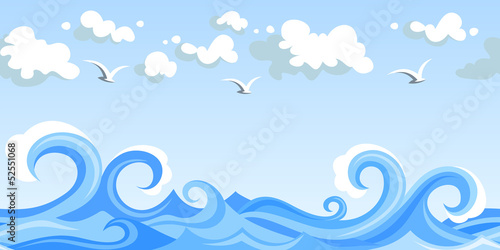 Sea waves and clouds. Vector horizontal seamless landscape.