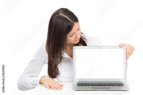 Young student woman with new modern popular laptop
