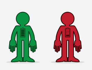 Isolated figures with full and empty battery icons.