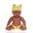 poupée bébé noire avec bonnet jaune