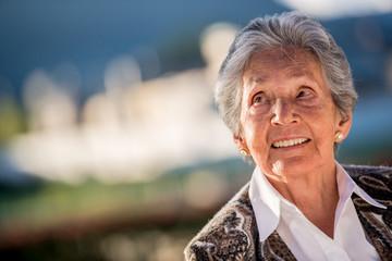 Thoughtful elder woman