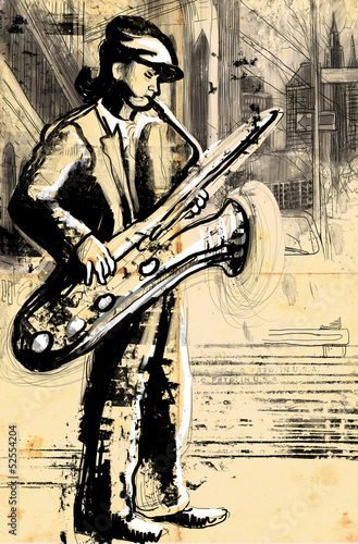 sax player (full sized hand drawing - original)
