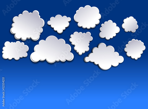 White clouds on blue sky. Paper-cut effect