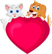 dog and cat cartoon holding love heart
