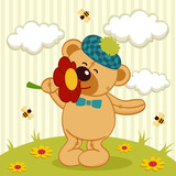 teddy bear and flower