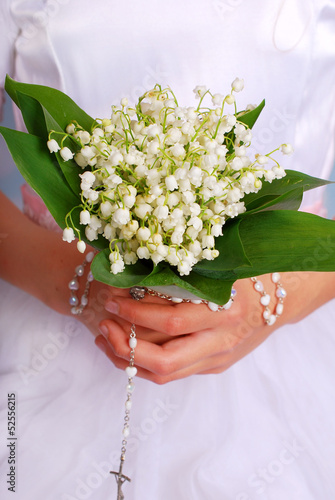 Staande foto Lelietje van dalen lily of the valley bunch for the first holly communion
