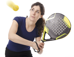 Paddle tennis woman isolated