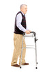 Full length portrait of a middle aged gentleman using a walker
