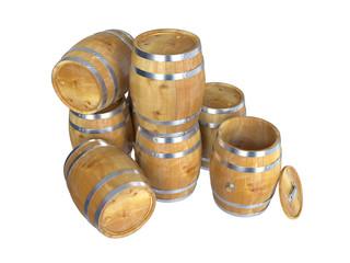 Wooden barrels. 3D image