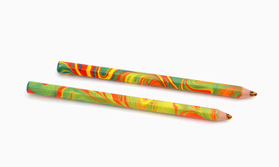 multi-colored pencil on a white background