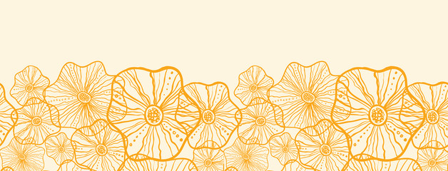 Vector Yellow floral shapes horizontal seamless pattern