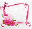 Holiday background with colorful flowers and ribbons. Vector ill