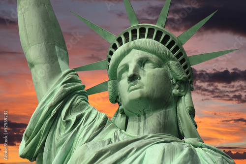 Liberty's Face with Sunrise Sky