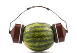 Watermelon in headphones