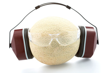 melon in headphones  and with safety glasses