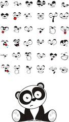 panda bear baby cute sitting cartoon set