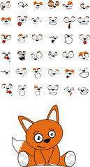 fox baby cute sitting cartoon set