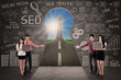 Business team present SEO success road concept