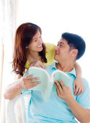 Loving asian couple