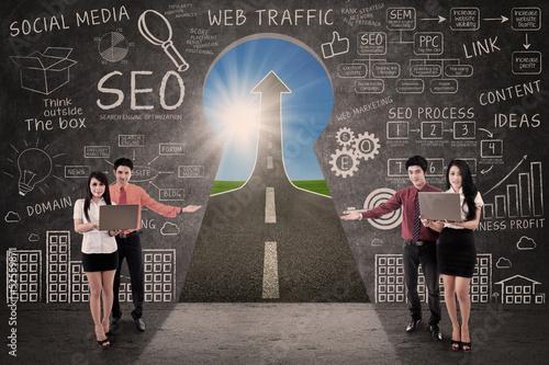 Business team present SEO success road concept