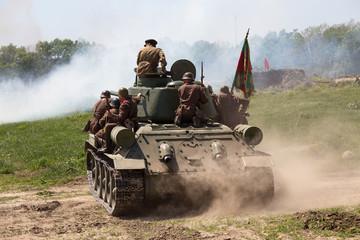Historical reenactment of WWII in Kiev, Ukraine