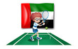 The UAE flag at the back of a tennis player