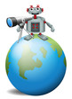 A robot with a telescope.above the planet earth