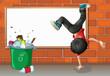 A boy breakdancing near a trash can with an empty board