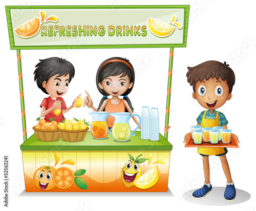 Three kids selling refreshing drinks