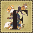 Fairy tale book alphabet. Letter F. Brer Rabbit and Brer Fox