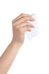 Woman hand holding a washcloth