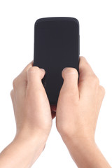 Woman hands touching a mobile phone screen with her thumbs