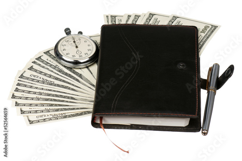 Dollars and stopwatch