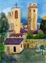 watercolor viliage