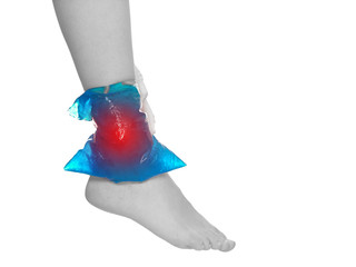 Cool gel pack on a swollen hurting ankle.