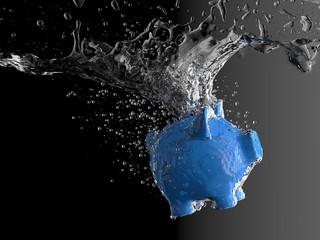 Piggy bank - water splash (blue pig)