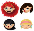 Set of 4 cartoon female heads