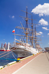 Shipyard in Gdynia city at Baltic Sea, Poland