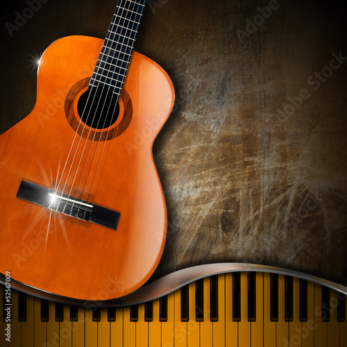 Acoustic Guitar and Piano Grunge Background