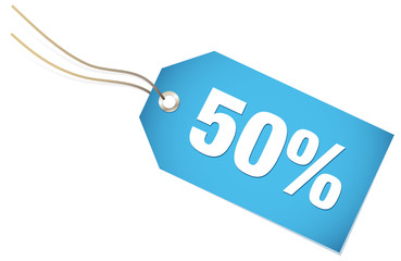 "Label ""50%"" Blue"