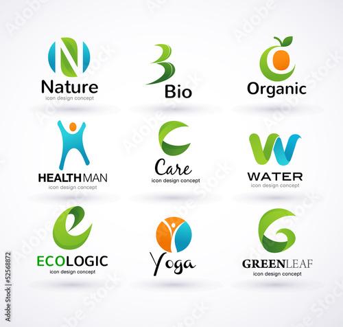 Vector green ecology alphabet