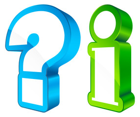 Icons Question & Information 3D Blue/Green