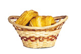 Wicker basket with baked confection poster
