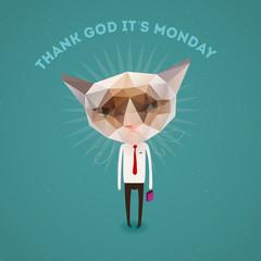 Funny sad cat - thank Got it's monday