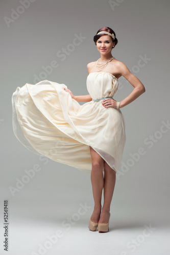 Girl in white coctail dress