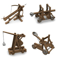 collection of 3d renders - siege weapons
