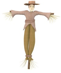 3d render of cartoon character as scarecrow