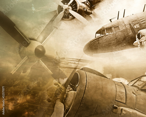 Wall mural Retro aviation grunge background