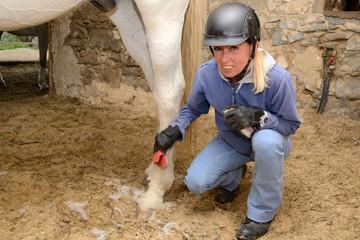 Frau beim Pferdestriegeln